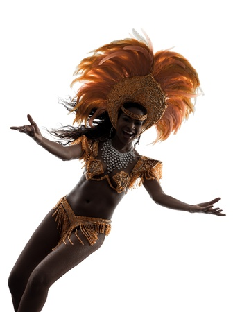 one african woman samba dancer  dancing silhouette  on white background photo