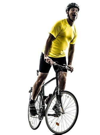 one caucasian man exercising bicycle mountain bike happy joy on white background