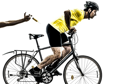 cycling silhouette: one caucasian man exercising doping sport concept    on white background