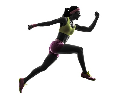 joggers: one caucasian woman runner running jumping  in silhouette on white background