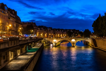 paris at night: waterfront of the seine river in the city of Paris in france Stock Photo