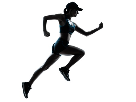 shadow woman: one caucasian woman runner jogger in silhouette studio isolated on white background