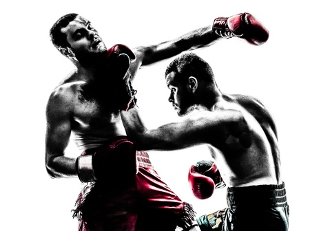 fight: two caucasian  men exercising thai boxing in silhouette studio  on white background