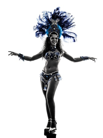 one caucasian woman samba dancer  dancing silhouette  on white background