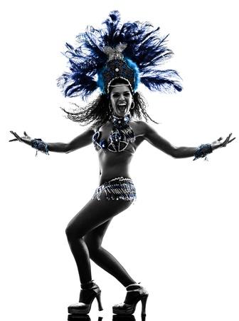 bailarines silueta: una mujer caucásica samba dancer silueta bailando sobre fondo blanco Foto de archivo