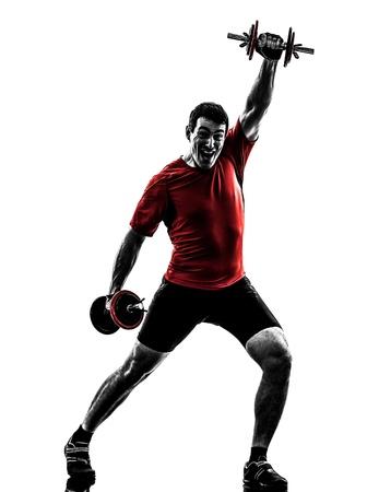 body builder: one caucasian man exercising weight training   on white background