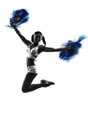 cheerleader: one young woman cheerleader cheerleading  silhouette studio on white background
