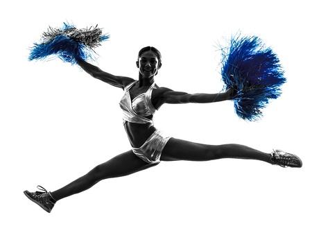 adult cheerleader: one young woman cheerleader cheerleading  silhouette studio on white background
