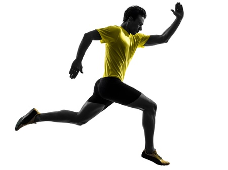 man isolated: one caucasian man young sprinter runner running  in silhouette studio  on white background