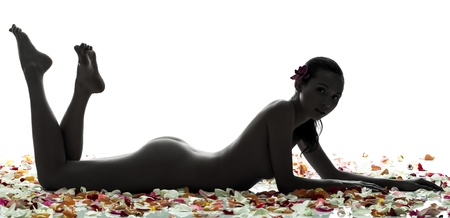 female nudity: one beautiful asian woman naked lying  with petal flowers  in silhouette studio isolated on white background