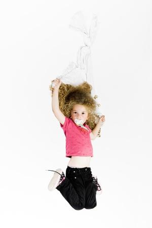pacifier: caucasian cute little girl holding blanket isolated studio on white background