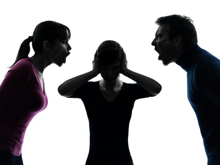 conflict: one caucasian family father mother daughter dispute screaming  in silhouette studio isolated on white background