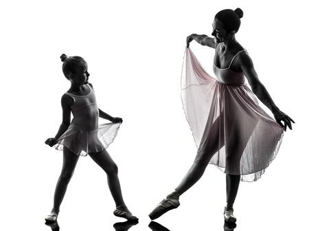 modern ballet dancer: woman and  little girl   ballerina ballet dancer dancing in silhouette on white background