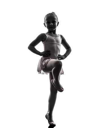 little girl posing: one  woman   ballerina ballet dancer dancing in silhouette on white background