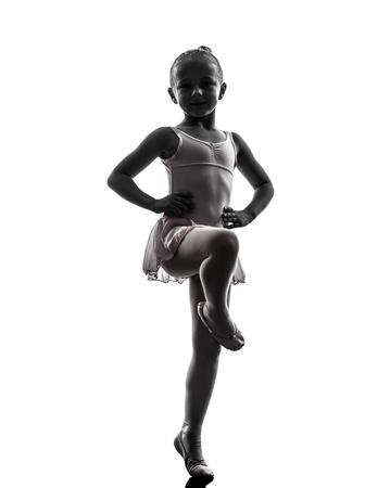 bailarina ballet: una mujer, bailarina de ballet, bailar�n, bailando en la silueta en el fondo blanco Foto de archivo