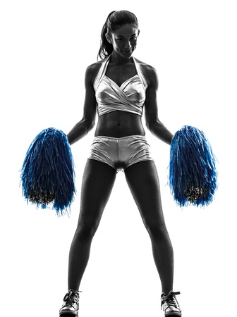 girl shadow: one young woman cheerleader cheerleading  silhouette studio on white background