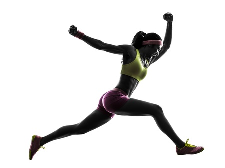 athletes: one caucasian woman runner running jumping  shouting in silhouette on white background