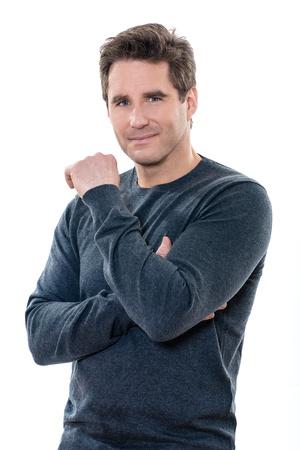 one caucasian man mature handsome portrait studio  white background