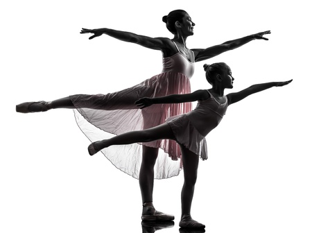 ballerina silhouette: woman and  little girl   ballerina ballet dancer dancing in silhouette on white background