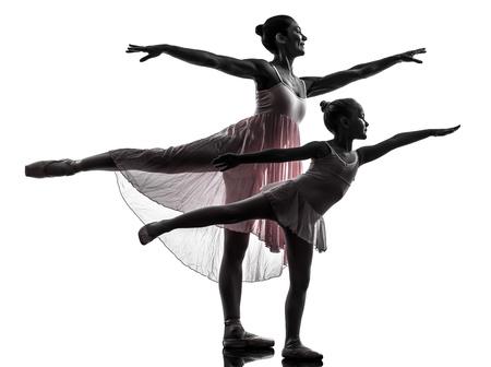 dance teacher: woman and  little girl   ballerina ballet dancer dancing in silhouette on white background