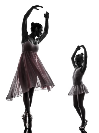 teen dance: woman and  little girl   ballerina ballet dancer dancing in silhouette on white background