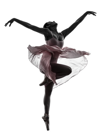 t�nzerin: eine Frau ballerina ballet dancer dancing in Silhouette auf wei�em Hintergrund