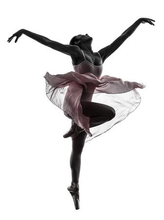 danza moderna: una mujer, bailarina de ballet, bailarín, bailando en la silueta en el fondo blanco Foto de archivo