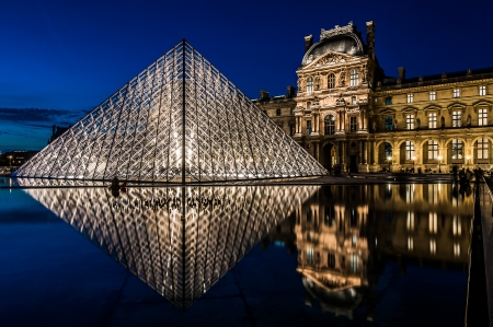 le: Paris, France - April 25, 2008: The pyramid of Le Louvre by night at the city of Paris in France on april 25th, 2008 Editorial