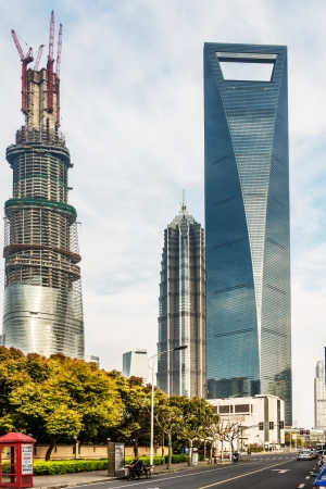 streetscene: Shanghai, China - April 7, 2013: skyscrapers building towers pudong skyline  at the city of Shanghai in China on april 7th, 2013