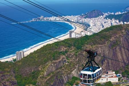 rio de janeiro: aerial view of copacabana with the from the sugar loaf in rio de janeiro brazil