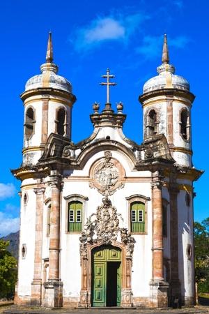 Gelet op de Igreja de São Francisco de Assis van de stad Ouro Preto in Minas Gerais Brazilië