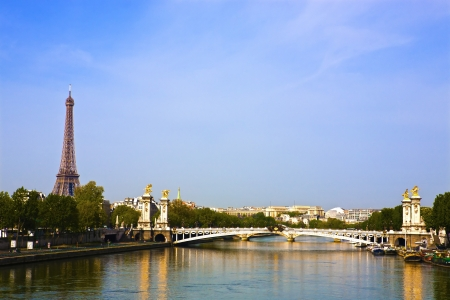 pont alexandre III La Seine bridge Eiffel Tower water front in Paris France photo
