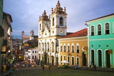 바이아 (주) 브라질 살바도르의 아름다운 도시에서 pelourinho 지역에있는 교회 나 이글레시아스 로사리오 도스 pretos 에디토리얼