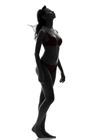 woman nude standing: one beautiful asian woman  in red underwear  silhouette studio isolated on white background
