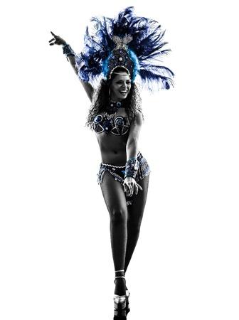 흰색 배경에 한 백인 여성 삼바 댄서의 춤 실루엣