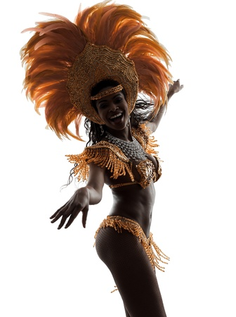 carnival background: one african woman samba dancer  dancing silhouette  on white background
