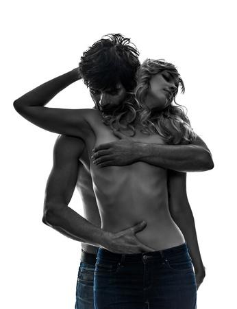 Sexy stylish topless kaukasisch Paar Liebhaber in Silhouette auf weißem Hintergrund Standard-Bild - 21708718