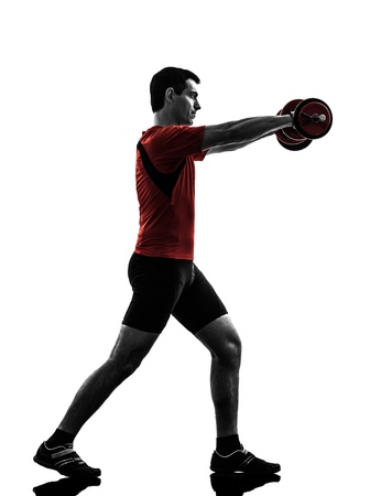 one caucasian man exercising weight training   on white background photo