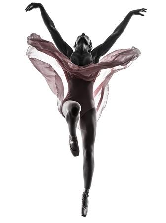 白い背景の上にシルエットで踊る一人の女性バレリーナ バレエ ダンサー 写真素材