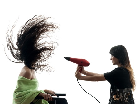 secador de pelo: Mujer y peluquería en la silueta en el fondo blanco Foto de archivo