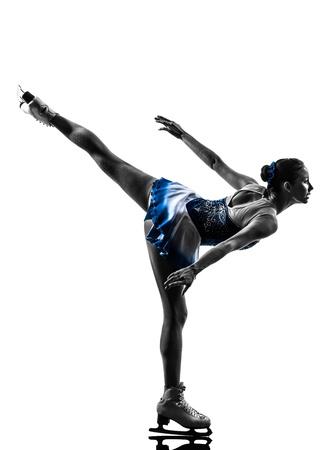 patinaje sobre hielo: una mujer cauc?sica de patinaje sobre hielo skater en la silueta en el fondo blanco