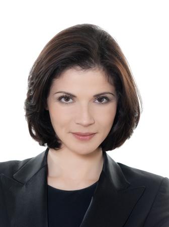femme brune: un beau sourire, caucasien, femme d'affaires portrait en studio isol? sur fond blanc