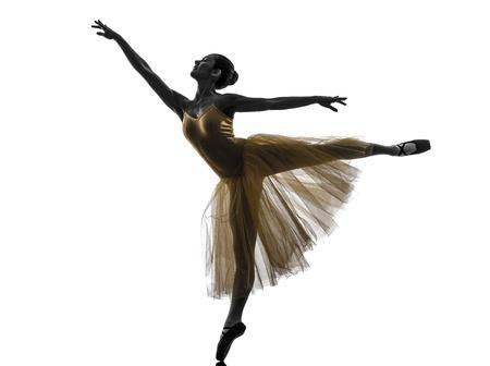 ballet dancing: one  woman   ballerina ballet dancer dancing in silhouette on white background