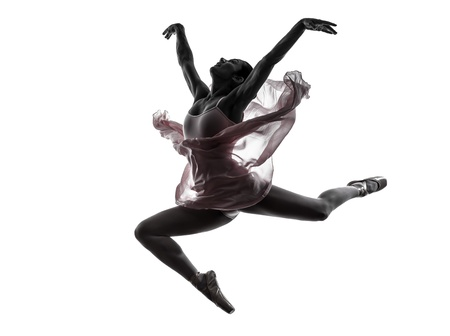 leap: one  woman   ballerina ballet dancer dancing in silhouette on white background