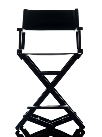 directors cut: one director chair  in silhouette  on white background Stock Photo