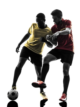 adversary: two men soccer player playing football competition in silhouette  on white background