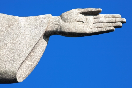 jesus statue: hand detail Christ the Redeemer statue in rio de janeiro in brazil