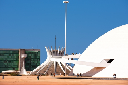 oscar niemeyer: The National Museum and the cathedral of Brasilia city capital of Brazil UNESCO World Heritage site is an expression of the geniality of the architect Oscar Niemeyer Editorial