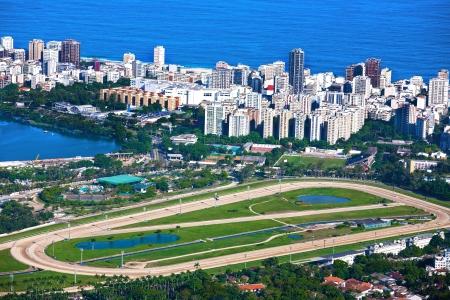 rio de janeiro: aerial view of the race track of lagoa and leblon in rio de janeiro brazil
