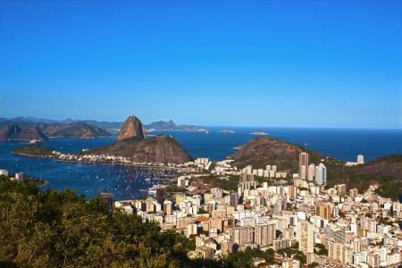 rio de janeiro: aerial view of botafogo and the sugarloaf in rio de janeiro brazil